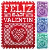 Feliz San Valentin - Gelukkige Valentijnskaarten dag het Spaans Stock Fotografie