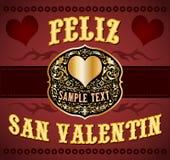 Feliz San Valentin - Gelukkige Valentijnskaarten Spaanse tekst stock illustratie