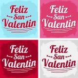 Feliz San Valentin - giorno di biglietti di S. Valentino felice nella lingua spagnola Immagini Stock