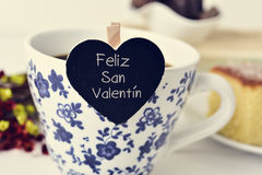 Feliz san valentin, happy valentines day in spanish Stock Image