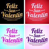 Feliz San Valentin - Happy valentines day in spanish language. Vector set - cards collection - eps available Stock Images