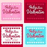 Feliz San Valentin - Happy valentines day in spanish. Language - vector set - cards collection Stock Photography