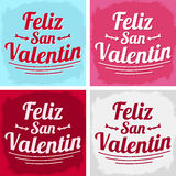 Feliz San Valentin - Happy valentines day in spanish language. Vector set - cards collection Stock Images