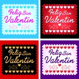 Feliz San Valentin - Happy valentines day in spanish language. Vector set - cards collection eps available Stock Photography