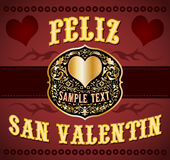 Feliz San Valentin - Happy Valentines spanish text Royalty Free Stock Photo