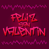Feliz San Valentin - Happy Valentines spanish text Stock Photos