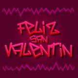 Feliz San Valentin - Happy Valentines spanish text Stock Photos