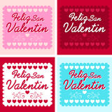Feliz San Valentin - jour de valentines heureux dans l'Espagnol Photographie stock