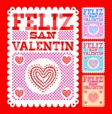 Feliz San Valentin, texto español feliz de día de San Valentín ilustración del vector