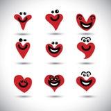 Feliz, sonriendo, la colección animada de los iconos del corazón fijó - el vect del concepto Fotografía de archivo