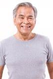 Feliz, sorrindo, homem asiático superior positivo fotografia de stock