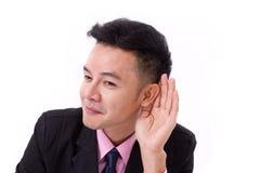 Feliz, sorrindo, homem de negócios bem sucedido que escuta a boa notícia Fotografia de Stock