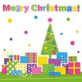 Feliz tarjeta de felicitación del árbol de navidad y de los presentes Foto de archivo