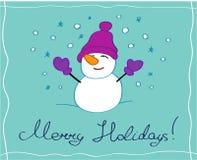 Feliz tarjeta de felicitación de los días de fiesta con un carácter del muñeco de nieve foto de archivo