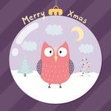 Feliz tarjeta de felicitación de Navidad con un búho lindo Foto de archivo libre de regalías