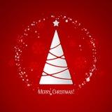 Feliz tarjeta de felicitación del árbol de navidad Diseño de papel Imágenes de archivo libres de regalías