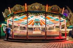 Feliz va el día de fiesta alemán Cel del mercado de la Navidad de la exposición larga de la ronda Fotografía de archivo