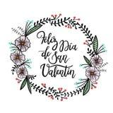 Feliz Valentin Gelukkige van de de Daghand van Valentine ` s Van letters voorziende de Groetkaart royalty-vrije illustratie
