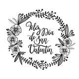 Feliz Valentin Gelukkige van de de Daghand van Valentine ` s Van letters voorziende de Groetkaart vector illustratie