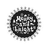 Feliz y brillante Frase de la caligrafía El cepillo manuscrito sazona las letras Frase de Navidad Elemento drenado mano holidays stock de ilustración