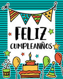 Felizcumpleanos, gelukkige verjaardag in Spaanse taal, affiche Stock Foto