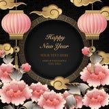 2019 felizes lanterna cor-de-rosa chinesa da nuvem da flor da peônia do relevo do ouro retro do ano novo ilustração royalty free