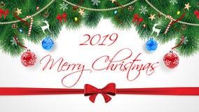 2019 Felizes Natais Cartão original bonito das felicitações do Feliz Natal com assinatura Assinatura no branco fotos de stock royalty free