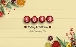 2018 Felizes Natais e ano novo feliz com as bolas do Natal no fundo de madeira ilustração stock