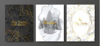 2019 Felizes Natais e coleção dos cartões do luxo do ano novo feliz com textura do mármore e da aquarela e forma geométrica doura ilustração do vetor