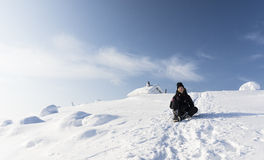 Fell crown reached. Young woman happy after reached top of the mountain Valtavaara Royalty Free Stock Photo