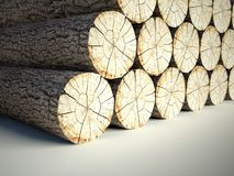 Felled tree stumps, 3d background Stock Photography