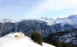 Fellhorn在冬天 阿尔卑斯,德国 免版税库存照片