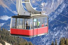 Fellhorn cable car in winter. The Alps, Germany. Royalty Free Stock Photo
