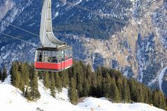 Fellhorn cable car in winter. The Alps, Germany. Royalty Free Stock Photography