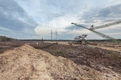 Felling forests near the sand pit Stock Image