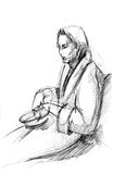 Fellow in a dressing-gown with a dish. Picture of sitting fellow in a dressing-gown with a dish stock illustration