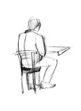 Fellow at the table from the back. Picture of fellow from the back sitting on a chair at the table from the back royalty free illustration