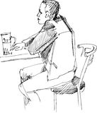 Fellow at the table with glass of beer. Sketching of fellow being at a table with glass of beer stock illustration