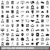 100 fellow worker icons set, simple style. 100 fellow worker icons set in simple style for any design vector illustration Stock Illustration