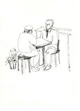Fellows communicate at the table. Picture of fellows being at a table opposite each other Stock Illustration