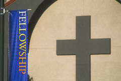 Fellowship banner in front of church Royalty Free Stock Images