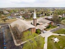 Fellowship Covenant Church in Arvada Colorado. An aerial view of the Fellowship Covenant Church in Arvada Colorado Royalty Free Stock Photo