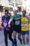 Fellowship among runners, Mitja Marato Granollers Royalty Free Stock Images