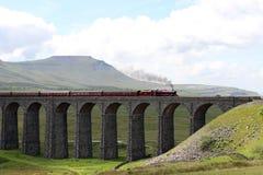 Fellsman ångadrev på den Ribblehead viadukten arkivbilder