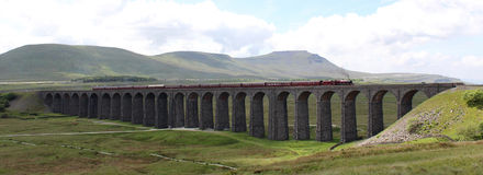 Fellsman steam train on Ribblehead Viaduct Royalty Free Stock Photography