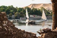 Felluca on Nile, Egypt. Felluca, typical egyptian boat. Captured on Nile. Luxor, Egypt Royalty Free Stock Photo