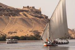 Felluca on Nile, Egypt. Felluca, typical egyptian boat. Captured on Nile. Luxor, Egypt Stock Images