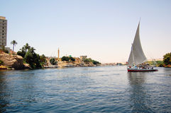 Felluca sailing down the Nile River. In Egypt Royalty Free Stock Photo