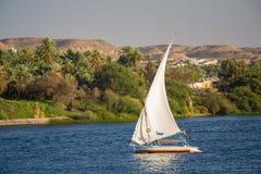 Felluca, A traditional Egyptian sailboat. A Felluca, A traditional Egyptian sailboat Egypt Stock Photo