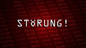 Felmeddelande som stavas i tysk stock illustrationer